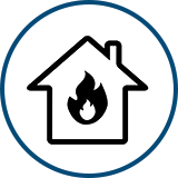 icon of a house with a flame in it