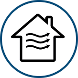 icon of a house with squiggly arrows in it