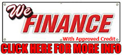 graphic saying we finance with approved credit. click here for more info